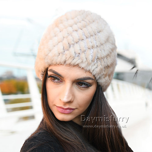 DMC53D Sunlight Mink Fur Beanie Cap Hat