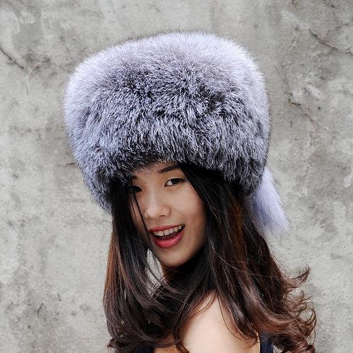 DMC169B New Finn Silver Fox Fur Pill Box Hat With Two Tails