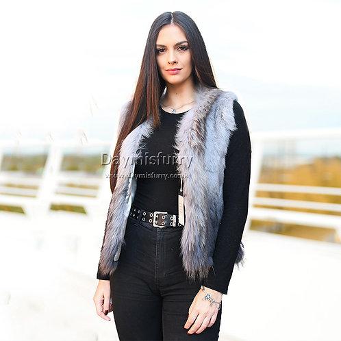 DMGB252A Rabbit Fur Ombre Gilet With Raccoon Fur Trim