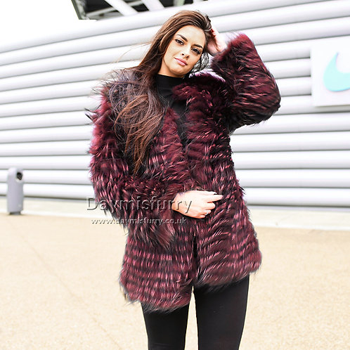 DMGA34D Dyed Raccoon Fur Lady Jacket In Wine Red