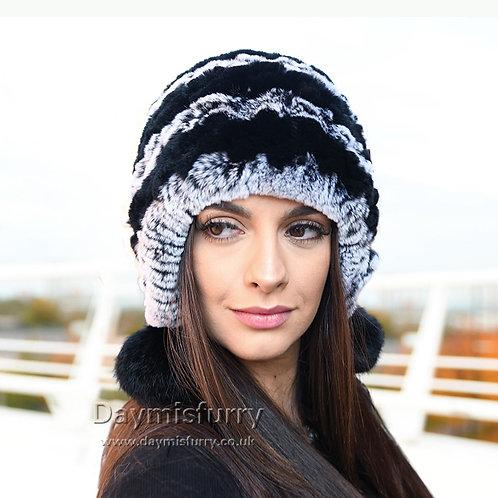 DMC111B Knit Rex Rabbit Fur Beanie Winter Fur Hat
