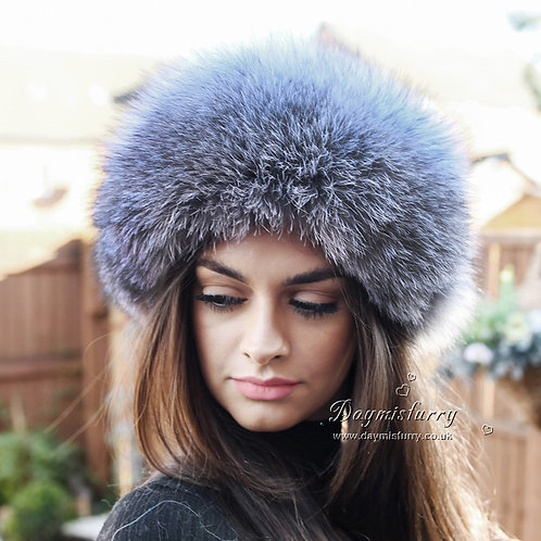 DMC77B Silver Fox Fur Hat with Leather Top