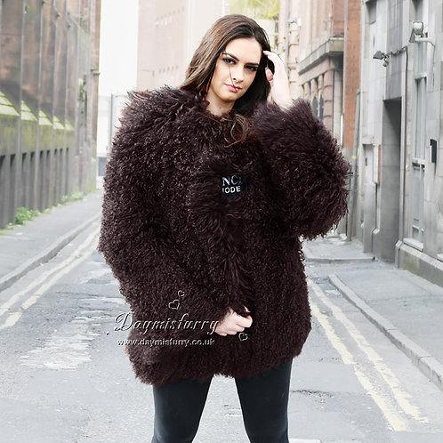 DMGA270D Mogolian Lamb Fur Coats in Chocolate