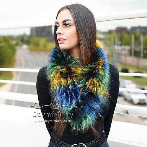 DMS13E Colouful Raccoon Fur Scarf Collar