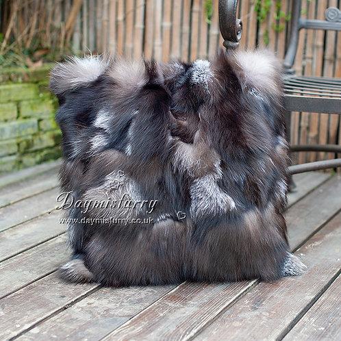 DMD109 Pieced Silver Fox Fur Pillow /  Cushion Cover