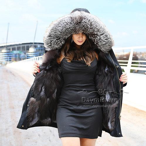 DMGP12 Silver Fox Fur Lined Parka Coat