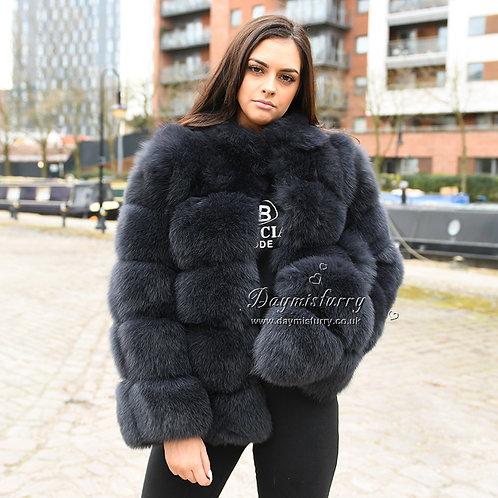 DMGA114B Extremely luxury Fox  Fur Jacket - Dark Grey