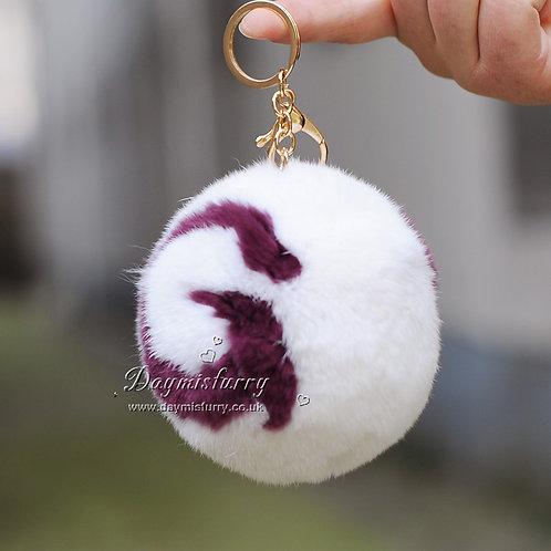 DMR03R Rex Rabbit Fur Pom Pom Bag Charm