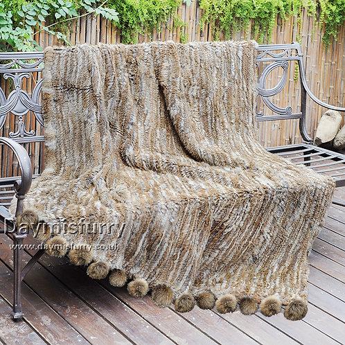 DMD108A Knit  Rabbit Fur Blanket With Raccoon Fur Pom Pom