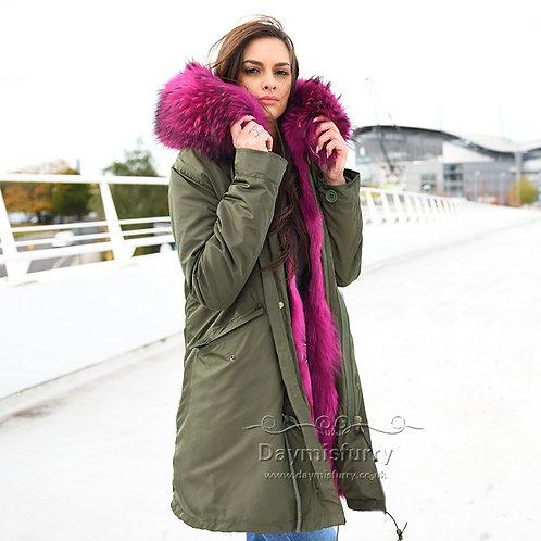 DMGP36C Fox Fur Parka Coat with Raccoon Fur Collar