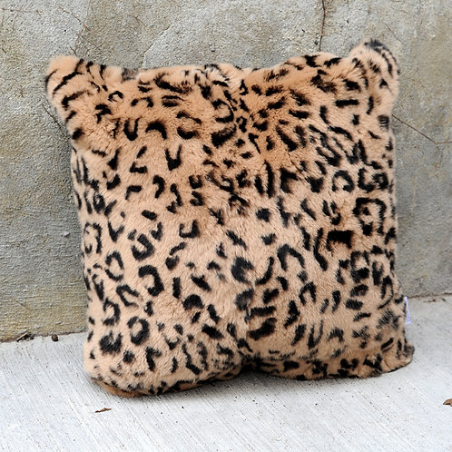 DMD100B Leopard Print Rex Rabbit Fur Pillow / Cushion Cover