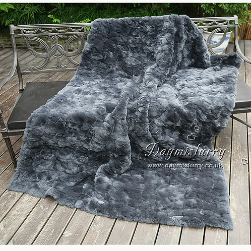 DMD65A Rex Rabbit Fur Blanket / Fur Throw / Fur Carpet In Dark Grey
