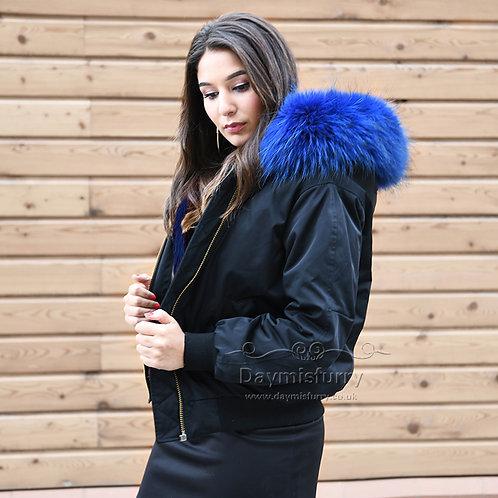 DMGP19N Rabbit Fur Lined Bomber Jacket With Raccoon Fur Collar