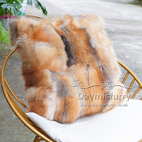 DM69A PatchWork Red Fox Fur Pillow / Cushion Cover