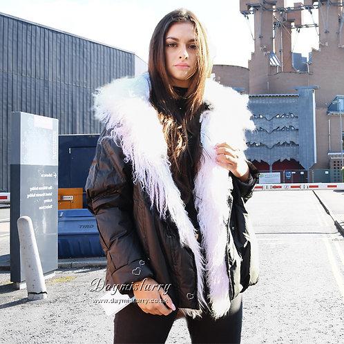 DMGD15 Black Down Jacket With White Mongolian Lamb Fur Collar