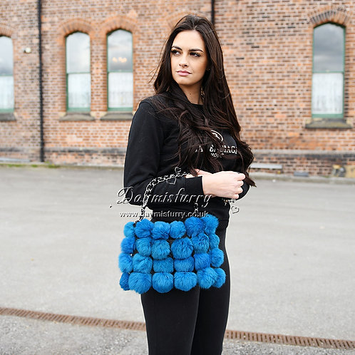 DMH11H Rabbit Fur Ball Handbag In Blue