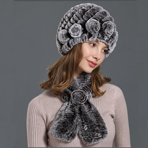 DMC112G Rex Rabbit Fur Knit Hat Scarf Set / Beanie Hat With Scarf