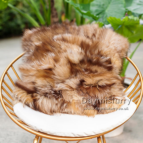 DMD69B PatchWork Red Fox Fur Pillow Cushion Cover