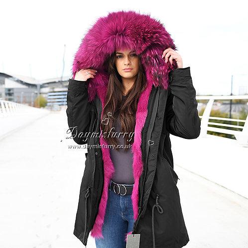 DMGP12K Fox Fur Lined Parka Coat with Raccoon Fur Collar
