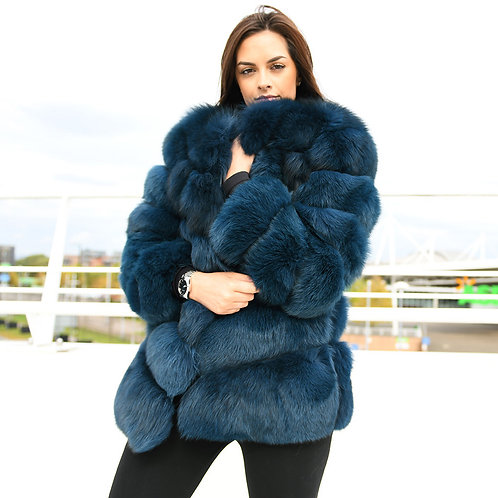 DMGA97D Extremely luxury Fox Horizontal Fur Coat - Navy Blue