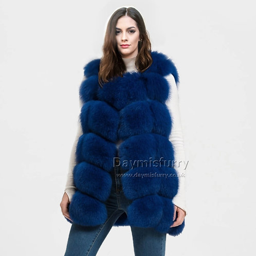 DMGB243H  Finn Fox Fur  Gilet, Real Fur Vest - Royal Blue