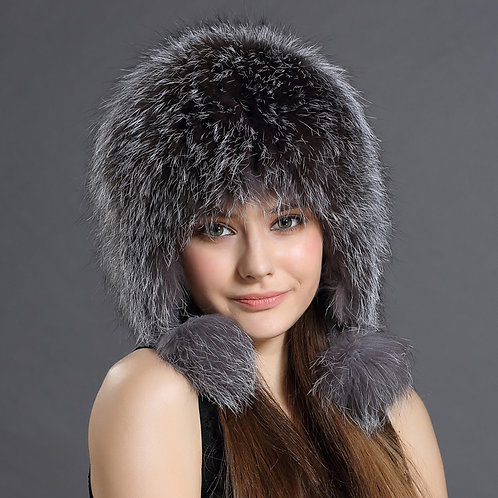 DMC114B Silver Fox Full Fur Russian Hat