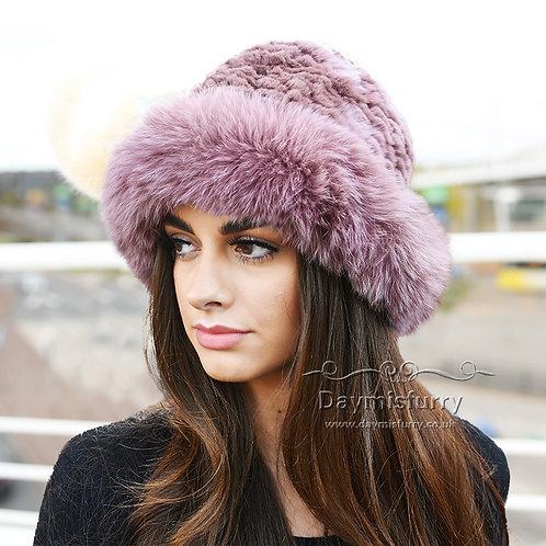 DMC02C  Rex Rabbit Fur Hat With Fox Fur Trim