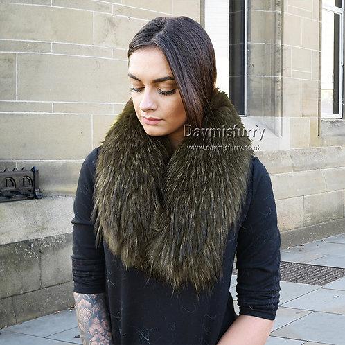 DMA76B Large Detachable Raccoon Parka Fur Collar