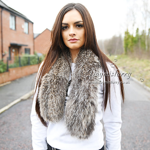 DMS117C Knit Fox Fur Scarf