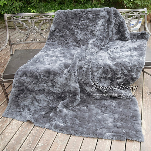 DMD65B Rex Rabbit Fur Blanket / Fur Throw / Fur Carpet
