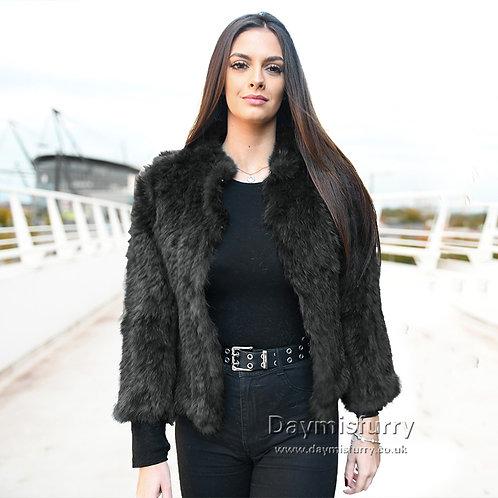 DMGA107D Knit Rabbit Fur Bolero Jacket - Black