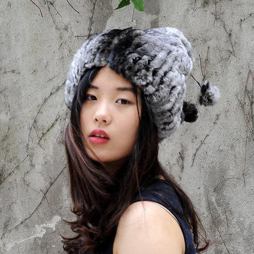 DMC75A Knit Rex Rabbit Fur Hat With Two Small Pom Pom