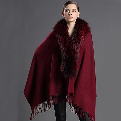 DMBP18F Wine Red Cashmere Cape With Raccoon Fur Collar