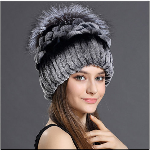 DMC203D  Rex Rabbit Fur Beanie Hats With Fox Fur Top