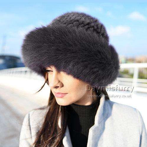 DMC209K  Mink Fur Hat with Fox Fur Trim