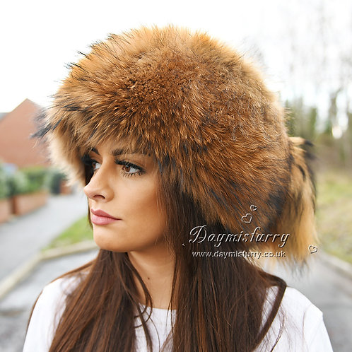 DMC169   Raccoon Fur Pill Box Hat With Two Tails