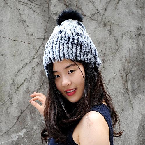 DMC58 Rex Rabbit Fur Lady Beanie Hat