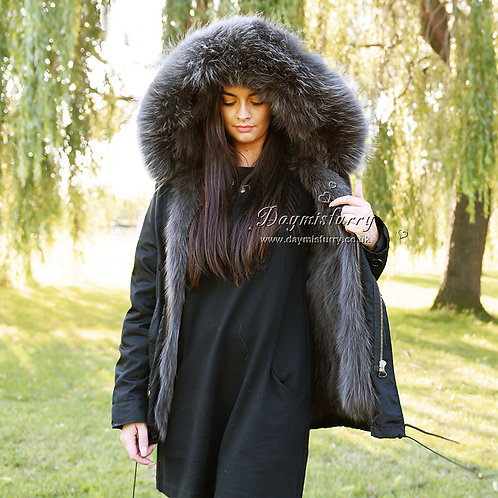 DMGP05R Fox Fur Lined Parka with Raccoon Fur Trim