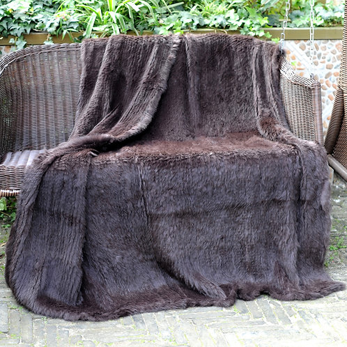 DMD10 Chocolate Brown Knit  Rabbit Fur Throw