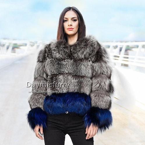 DMGA102  Silver Fox Fur Jacket, Real Fur Coat, Winter Jacket