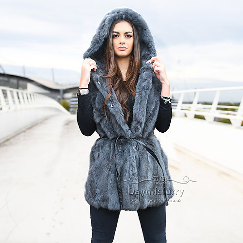 DMGB102D Pieced Rabbit Fur Hoody Vest - Dark Grey