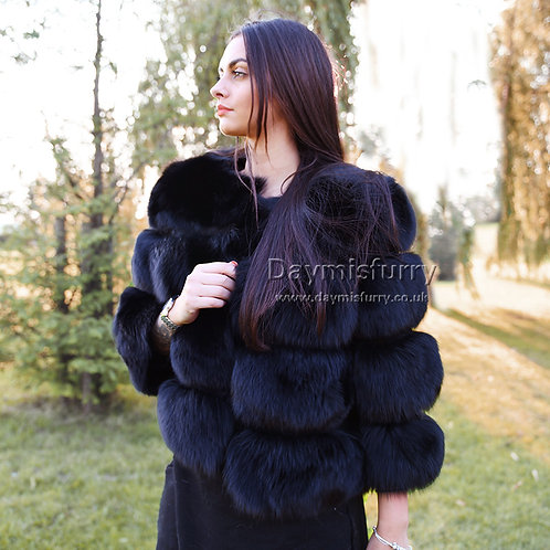 DMGA11D  Luxury  Fox Fur Jacket - Black