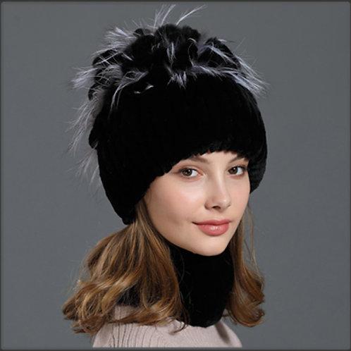 DMC17B Rex Rabbit Winter Fur Hat Scarf Set