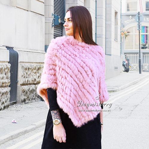 DMB13A  Knit Pink Rabbit Fur Poncho / Fur Cape