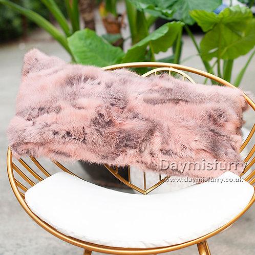 DMD13C  Pieced Rabbit Fur Pillow Cover