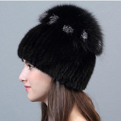 DMC29A Mink Fur Beanie Hat With Fox Top