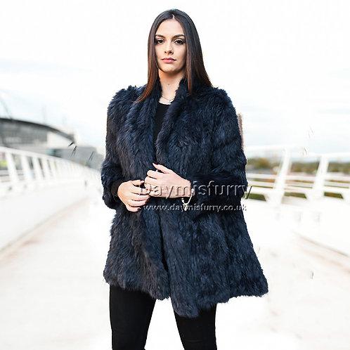 DMGA139A Knit Rabbit Fur Women Jacket - Navy