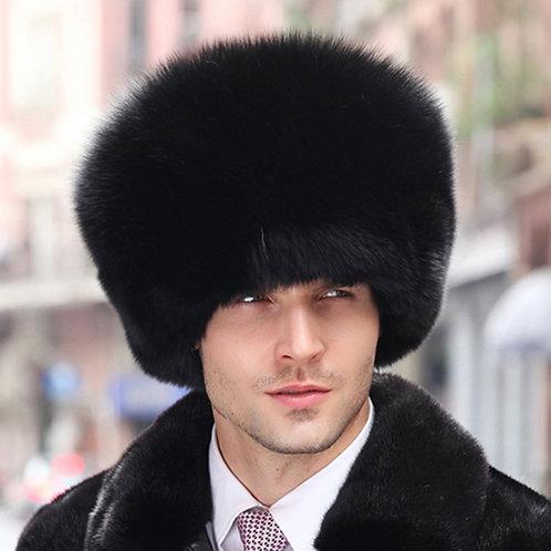 DMC82A Black Fox Fur Pill Box Men's Hat