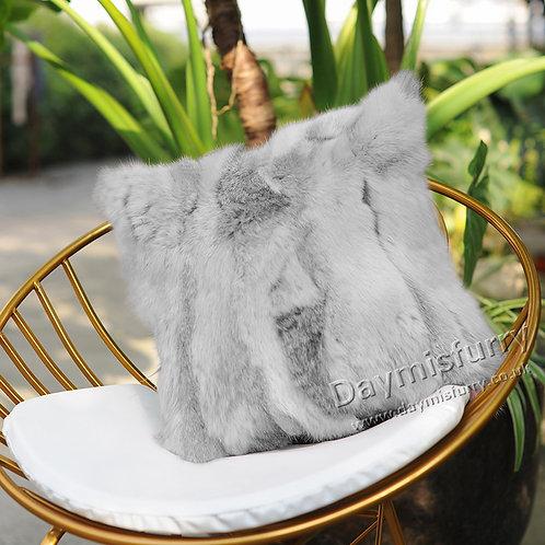 DMD17 Pieced Rabbit Fur Pillow Case Cushion Cover
