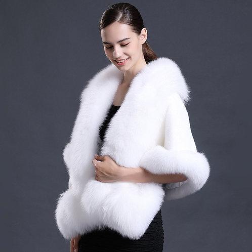 DMBM05E White Mink Fur Bridal Wrap / Wedding Fur Wrap